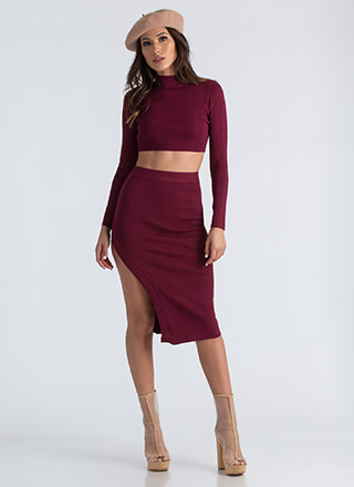 Knit Factor Crop Top And Skirt Set