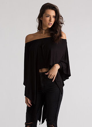 Flow Up Asymmetrical Off-Shoulder Top