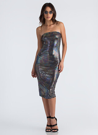 What A Trip Holographic Tube Dress