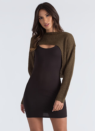 Just Shrug Cropped High-Low Sweater