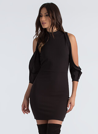 The Cold Shoulder Pleated Sleeve Dress