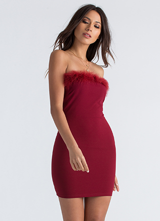 Furry Up And Get Ready Strapless Dress