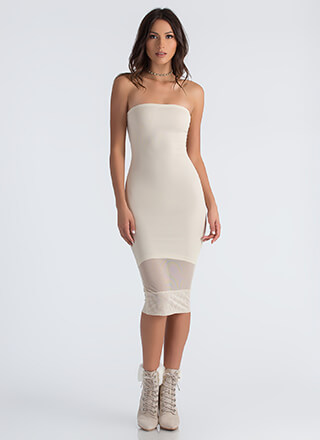 Ready Inset Go Strapless Mesh Dress