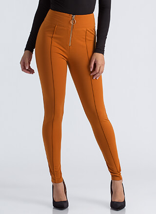 Ring It Up Pleated Cut-Out Skinny Pants