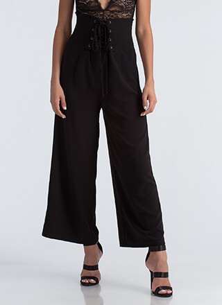 High Society Lace-Up Palazzo Pants