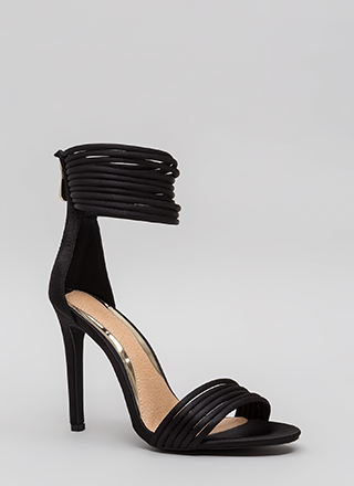 I Can Die Strappy Ankle Cuff Heels