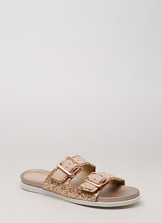 Layer It On Glittery Slide Sandals