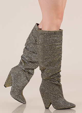 Sparkly Jewels Slouchy Cone Heel Boots