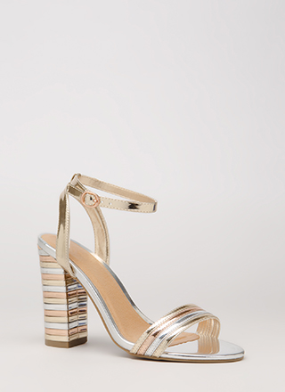 I Want It All Striped Chunky Heels