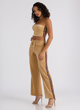 Terry On Striped Tube Top And Pant Set