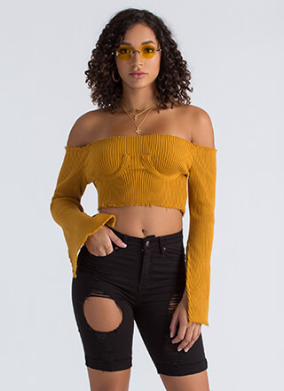 Busted Ribbed Off-Shoulder Crop Top