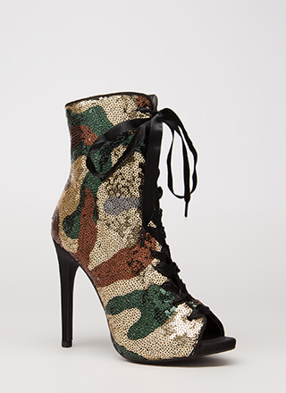 Camo Chic Sequined Lace-Up Booties