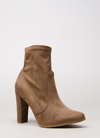 Going Strong Chunky Faux Suede Booties