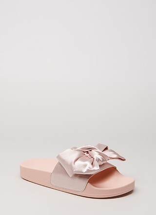 Put A Bow On It Satin Slide Sandals