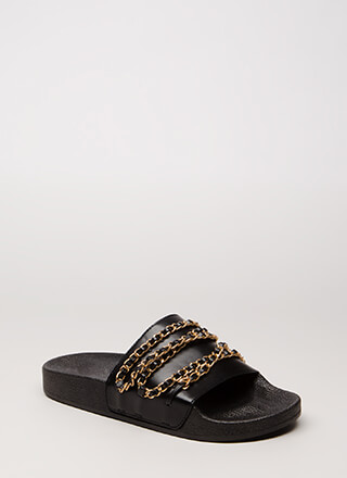 Chain Letter Strappy Slide Sandals