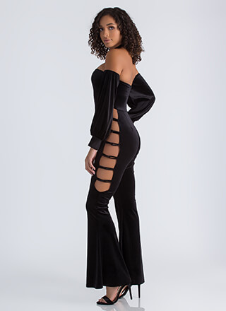 Up The Ladder Velvet Cut-Out Jumpsuit