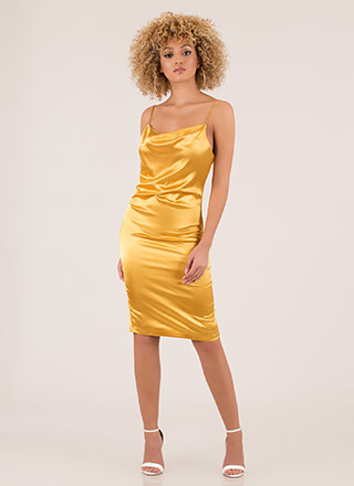 Dinner Party Satin Draped Midi Dress