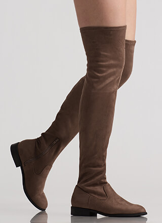 On Your Feet Faux Suede Thigh-High Boots