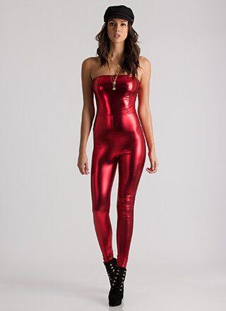 Pour In Strapless Faux Leather Jumpsuit