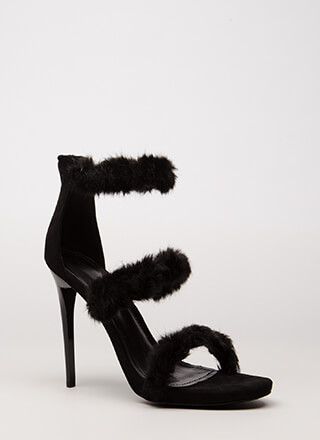 Fur A Good Time Call Strappy Heels