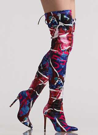 Abstract Idea Pointy Thigh-High Boots