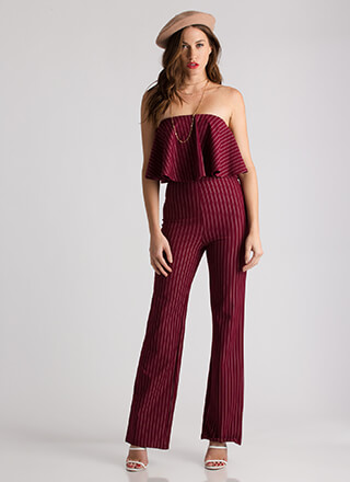 Pinstripe Me Down Strapless Jumpsuit