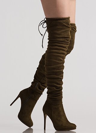Scrunch Up Tall Slouchy Thigh-High Boots
