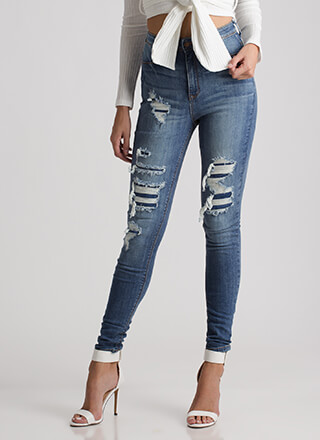 Distressed Up High-Waisted Skinny Jeans