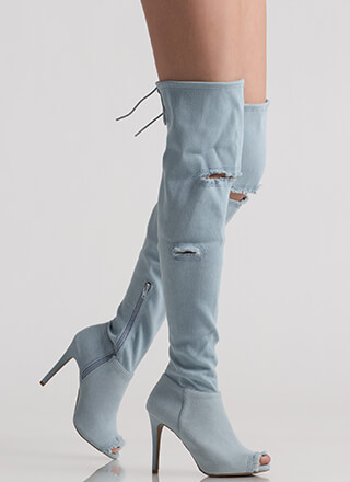 Fresh Fringed Denim Thigh-High Boots