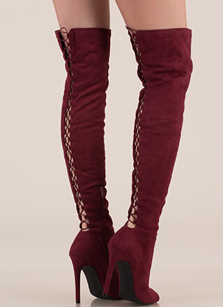 Laced It Caged Back Thigh-High Boots