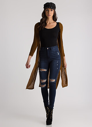 Top This Ribbed Double Slit Cardigan