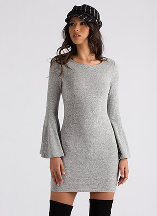 A Little Flare Knit Bell Sleeve Dress