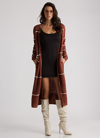 Simply Striped Knit Duster Cardigan