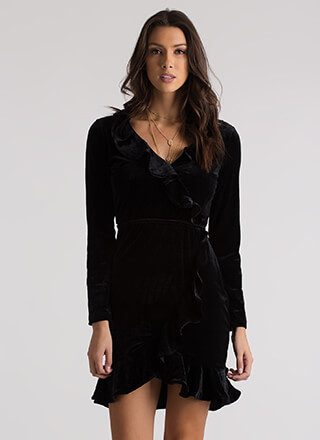 Get Ruffled Up Velvet Faux Wrap Dress
