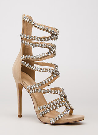 All My X's Strappy Jeweled Caged Heels