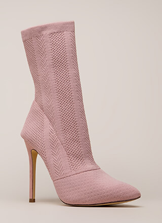 Point Them Out Textured Knit Booties
