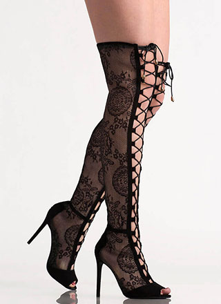 Lovely In Lace Lace-Up Thigh-High Boots
