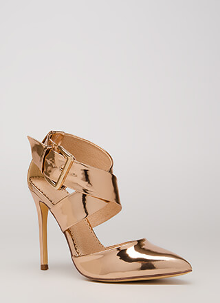 X Factor Metallic Wide Strap Heels