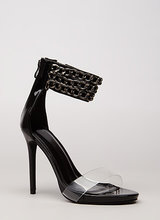 Clearly Linked Chain Strap Heels