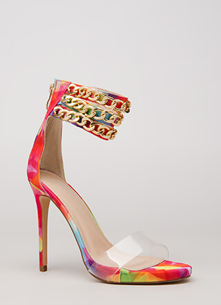 Clearly Linked Rainbow Chain Strap Heels