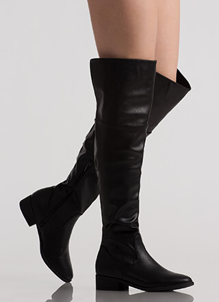I Need Faux Leather Thigh-High Boots