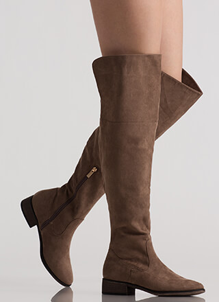 I Need Faux Suede Thigh-High Boots