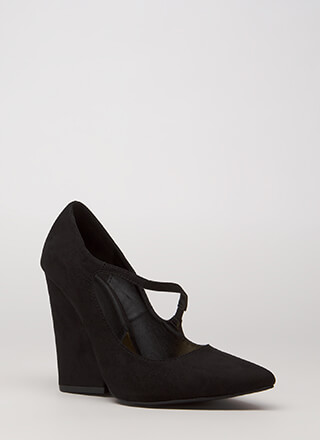 Up A Notch Pointy Faux Suede Wedges