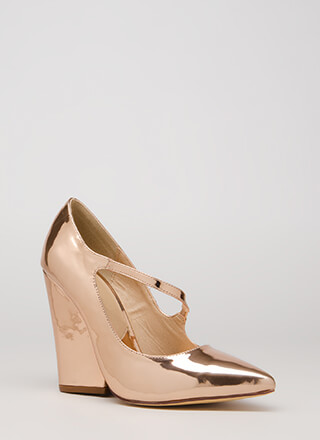 Up A Notch Pointy Faux Patent Wedges