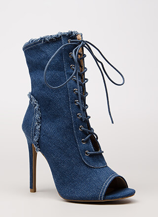 Fringed Fun Denim Lace-Up Booties
