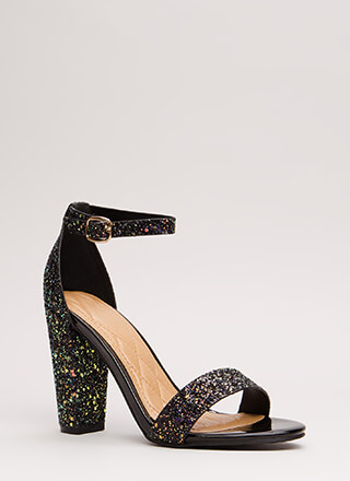 Flash Frenzy Chunky Glittery Heels