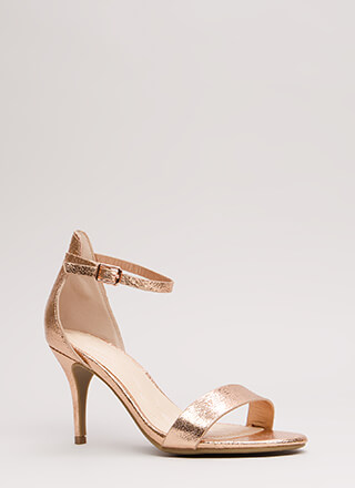 A Shining Strappy Crackled Foiled Heels