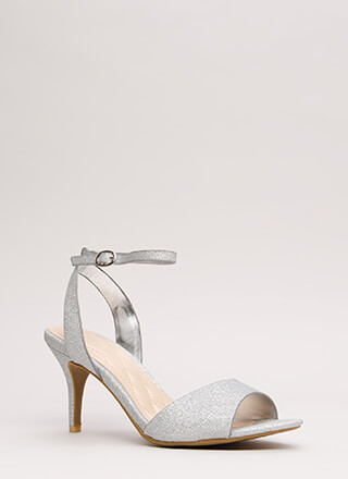 Shine Thru Glittered Ankle Strap Heels