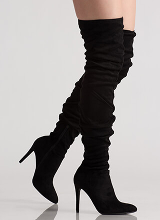 Slouchy Feels Pointy Thigh-High Boots
