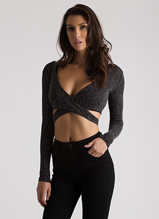 Specks Appeal Glittery Wrapped Crop Top